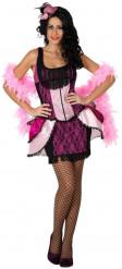 Roze cabaretdanseres kostuum voor vrouwen