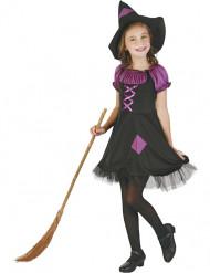 Paarse en zwarte heksen outfit voor meisjes