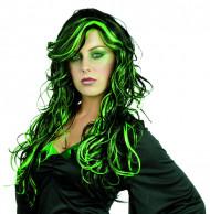 Zwarte en groene pruik voor vrouwen