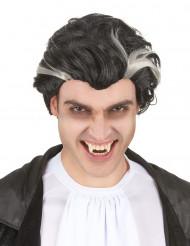 Zwart-witte vampierspruik voor mannen