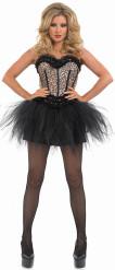 Beige luipaard burlesque danseres outfit voor dames