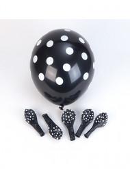6 zwarte ballonnen met witte stippen