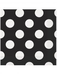 16 papieren servetten zwart met witte stippen