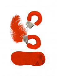 Rood bont accessoire set voor volwassenen
