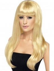 Lange blonde pruik met pony voor dames