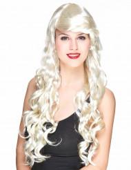Lange gekrulde blonde glamourpruik voor vrouwen