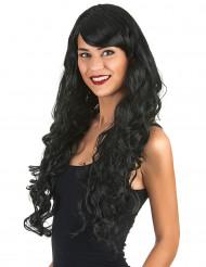 Lange zwarte glamour pruik met krullen voor vrouwen