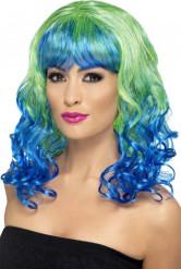 Pruik met blauwe en groene krullen voor dames