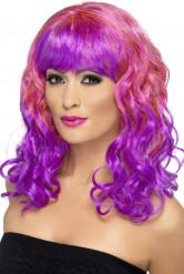 Roze en paarse pruik voor dames