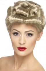 Korte blonde vintage retro pruik voor dames