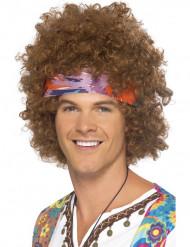 Bruine afro hippie pruik voor mannen