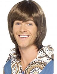 Bruine jaren 70 pruik voor mannen