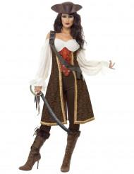Bruin piraten kostuum voor dames