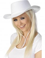 Witte cowboy hoed met koord voor volwassenen