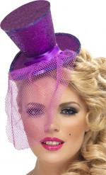 Mini paarse hoge hoed voor vrouwen