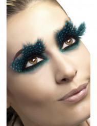 Valse zwarte pluim wimpers met blauwe stippen voor dames