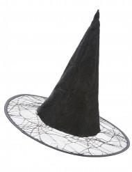 Zwarte heksen hoed met spinnenweb voor volwassenen Halloween