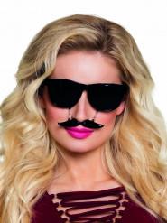 Zwarte bril met snor voor volwassenen