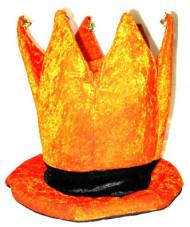 Leuke oranje kroon hoed met belletjes