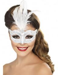 Venetiaans zilverkleurig masker met witte veren voor volwassenen