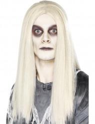 Lange witte zombie pruik voor heren