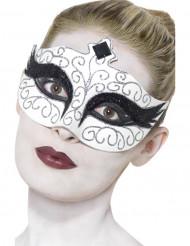 Masker wit met zwarte en zilverkleurge pailletten voor volwassenen