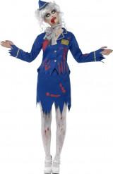 Halloween Zombie stewardess kostuum voor dames