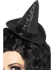 Mini zwart heksen hoedje voor dames