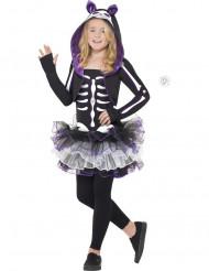 Paarse kat skelet outfit voor meisjes