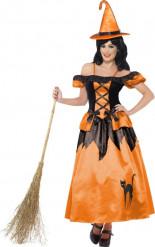 Zwart en oranje Halloween heksen  Kostuum voor dames