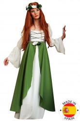 Groen middeleeuws kostuum voor vrouwen