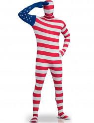 Amerikaanse vlag second skin kostuum voor volwassenen