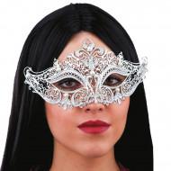 Zilverkleurig masker met witte kralen voor volwassenen