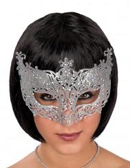 Zilverkleurig Venetiaans masker met kant voor volwassenen