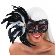 Venetiaans masker met zwarte veren voor volwassenen