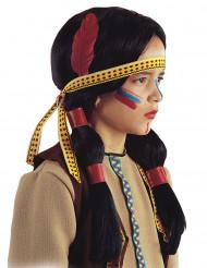 Indianen pruik met veer voor kinderen