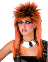 Oranje punk pruik voor volwassenen