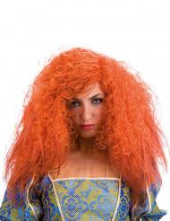 Krullend oranje pruik