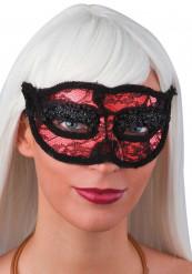 Rode halfmasker met kant voor volwassenen