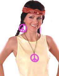 Roze hippie ketting en oorbellen