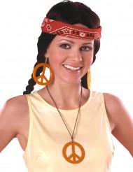 Oranje hippie oorbellen en hanger
