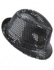 Zwarte glitter hoed voor volwassen