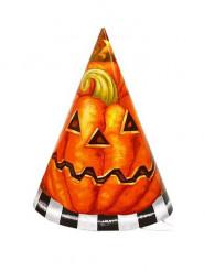 6 kartonnen Pompoen Hoeden voor Halloween