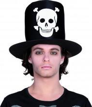 Hoge Halloween hoed met doodskop