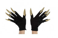 Zwarte handschoenen met goudkleurige nagels voor volwassenen