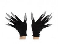 Zwarte handschoenen met zilverkleurige nagels voor volwassenen