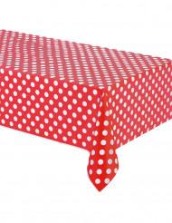 Rood plastic tafelkleed met witte stippen 137 x 274 cm
