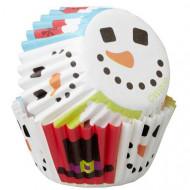 100 Mini cupcake Sneeuman bakvormen