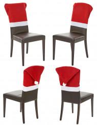 Set van 4 rode stoelhoezen voor Kerst