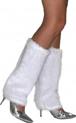 Witte pluche beenwarmers voor volwassenen
